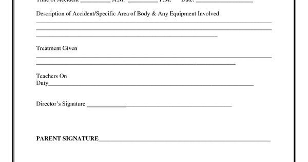 Incident Report Form Child Care  Child Accident Report  Child