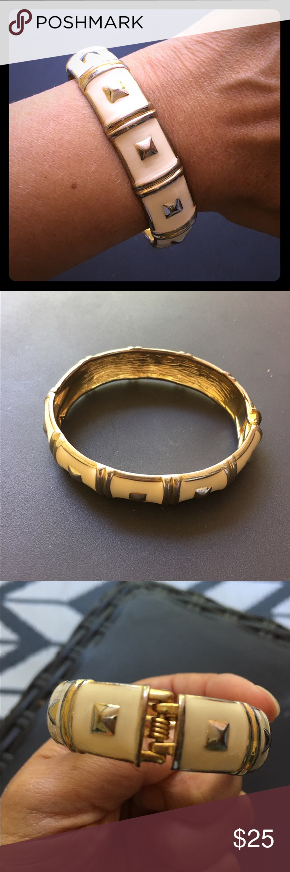 "Gold Metal and Ivory Enamel Bracelet Gold Metal and Ivory Enamel Bracelet. Oval shape 2.25"" x 1.75"". A little over .5"" wide. Opens on a hinge to slip on wrist. No brand markings. Jewelry Bracelets"