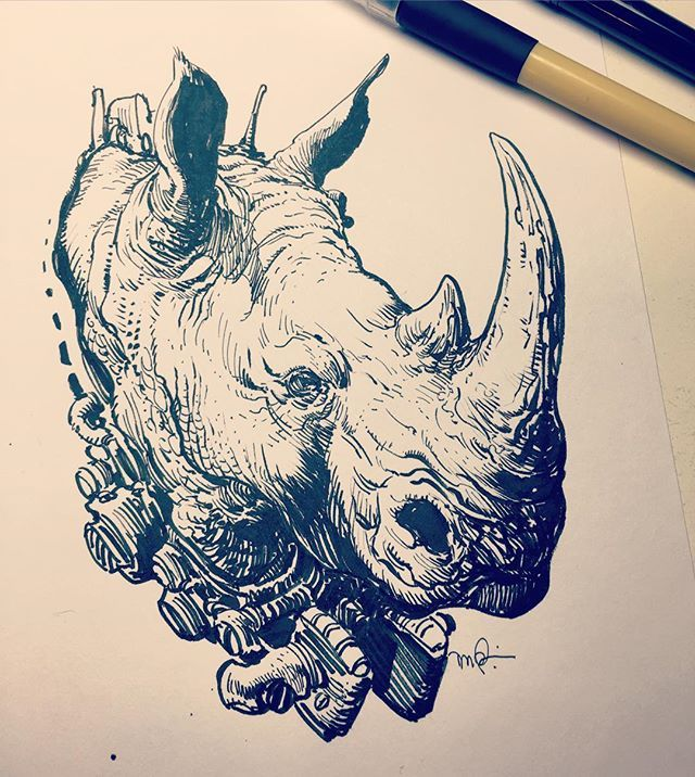 Designo Rhino done for a good cause. Available as a t-shirt by @threadbot Click link in bio for info. Like their IG, spread the word.
