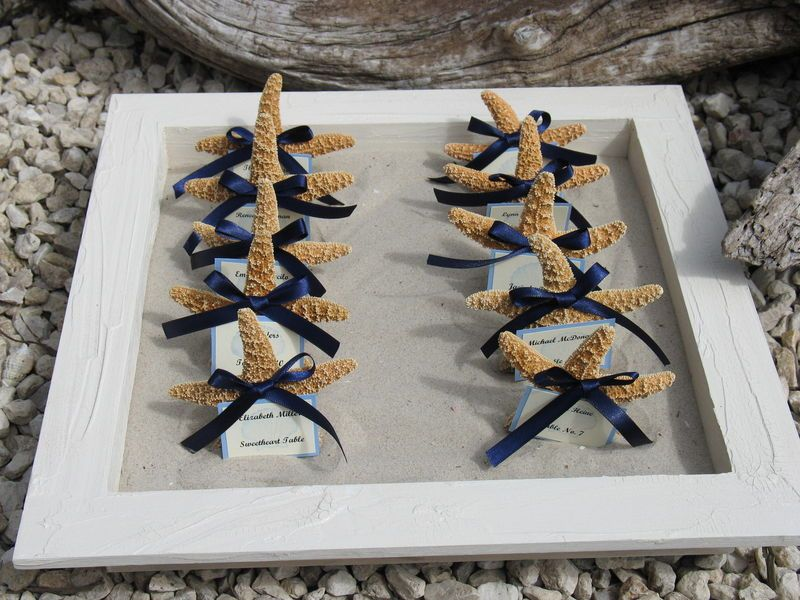 Beach Wedding Decorations Starfish Sand Dollars Seashell Favors Placecards Table Assignments