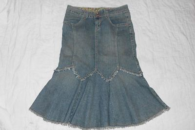 Girls/Junior SIZE 10 Long length denim jean skirt ** MODEST and MUST SEE**