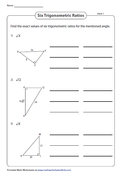 Determine The Six Trigonometry Ratios Trigonometry Worksheets Printable Math Worksheets Teaching Geometry