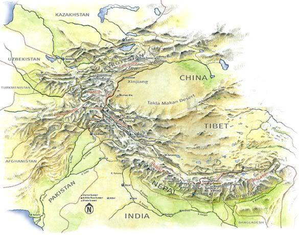 Himalayas World Map