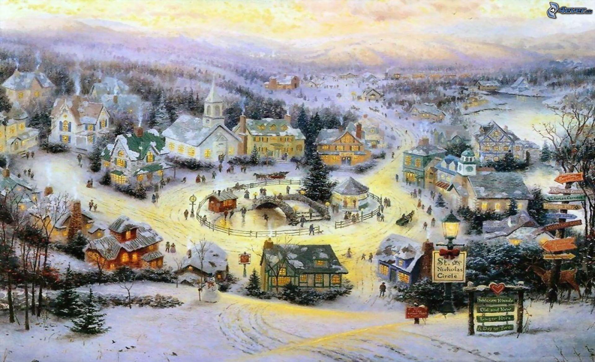 Wallpaper Thomas Christmas Living Kinkade
