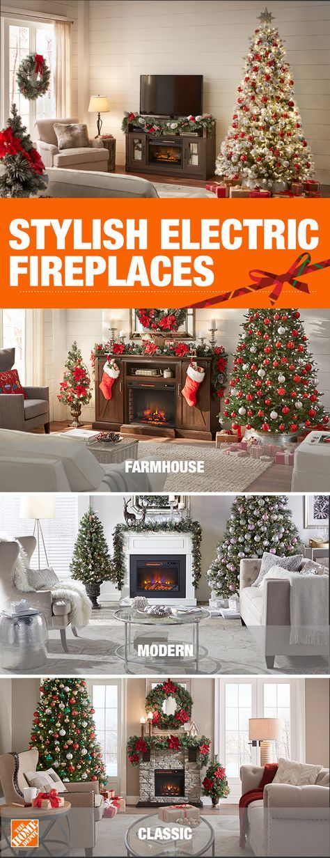 Explore A Variety Of Stylish Electric Fireplaces From The Home Depot Whether Your Style Is Modern Tv Stand Christmas Decor Christmas Apartment Christmas Home