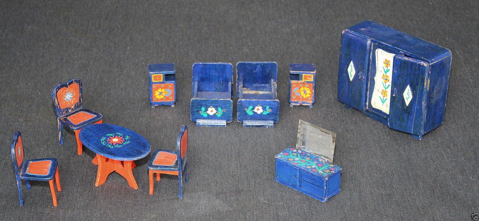 Details Zu Puppenstubenzubehor Mobel 30er Jahre Bett Tisch Stuhl Nachttisch Schrank
