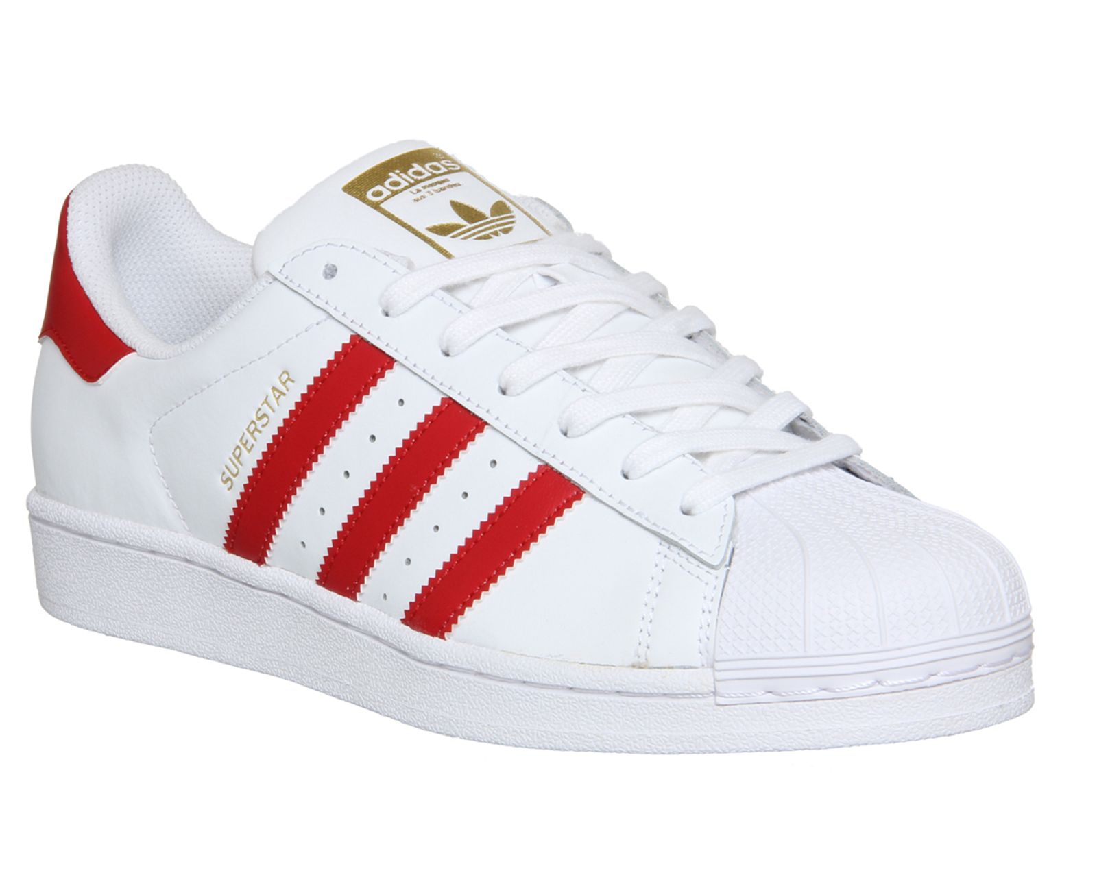 Buy White Scarlet Adidas Superstar 1 from OFFICE.co.uk.
