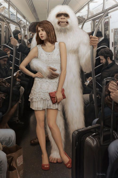 "abesworlds: """"Emma Snow & the Yeti"" by Matthew Grabelsky Oil on canvas - 32 x 46 in. (81 x 116 cm.) www.grabelsky.com """