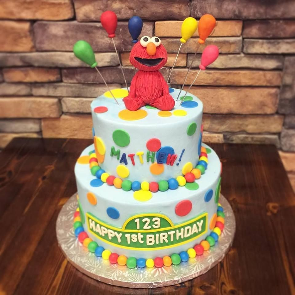 Get This Beautiful Sesame Street Elmo First Birthday Cake 2 Tiered Is Topped