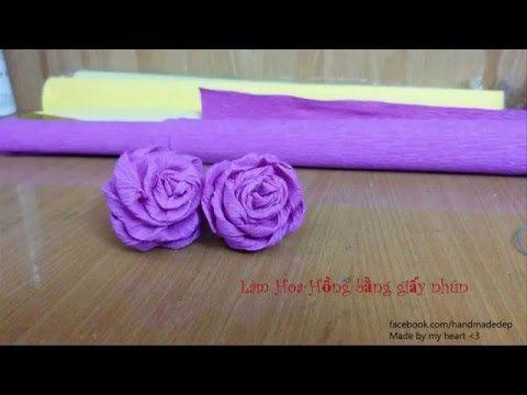 [Hoa giấy nhún] Cách làm hoa hồng xoắn giấy nhún cánh to đơn giản _ Made by Saphia - YouTube