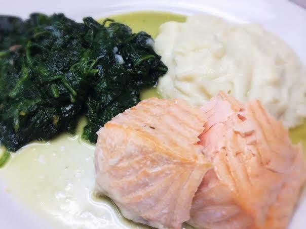 Salmon, Mashed Cauliflower, Spinach: 3/6/14