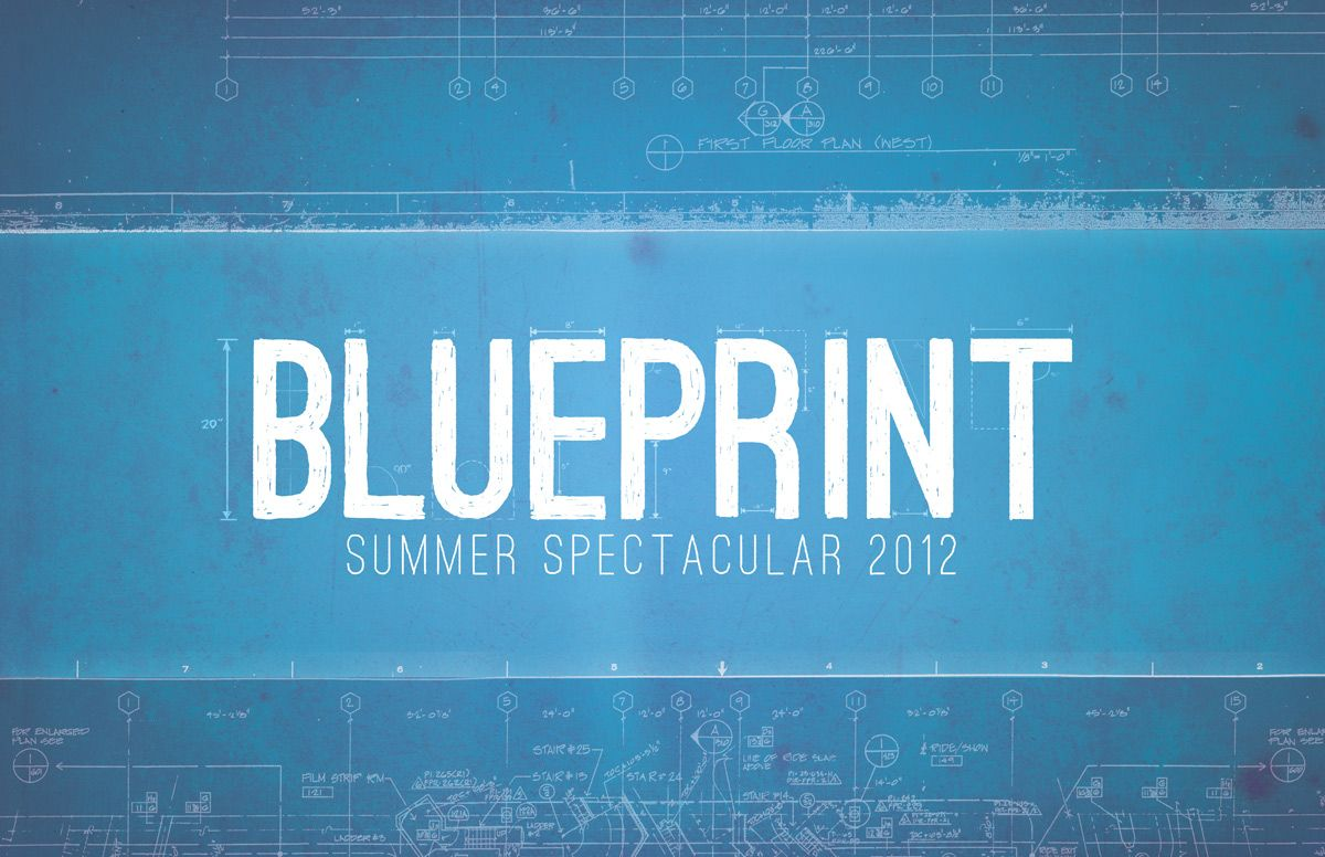 Blueprint inspired headline design