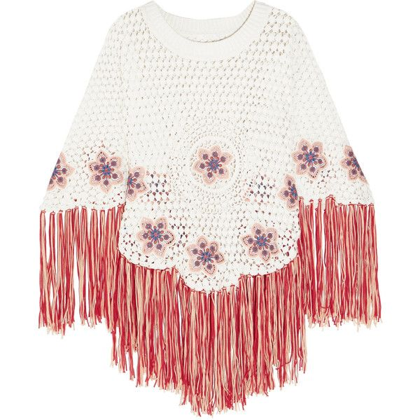 Chloé Fringed embroidered crocheted cotton poncho (23.960 ARS) ❤ liked on Polyvore featuring outerwear, white cotton slip, fringe ponchos, style poncho, cotton poncho and crochet poncho