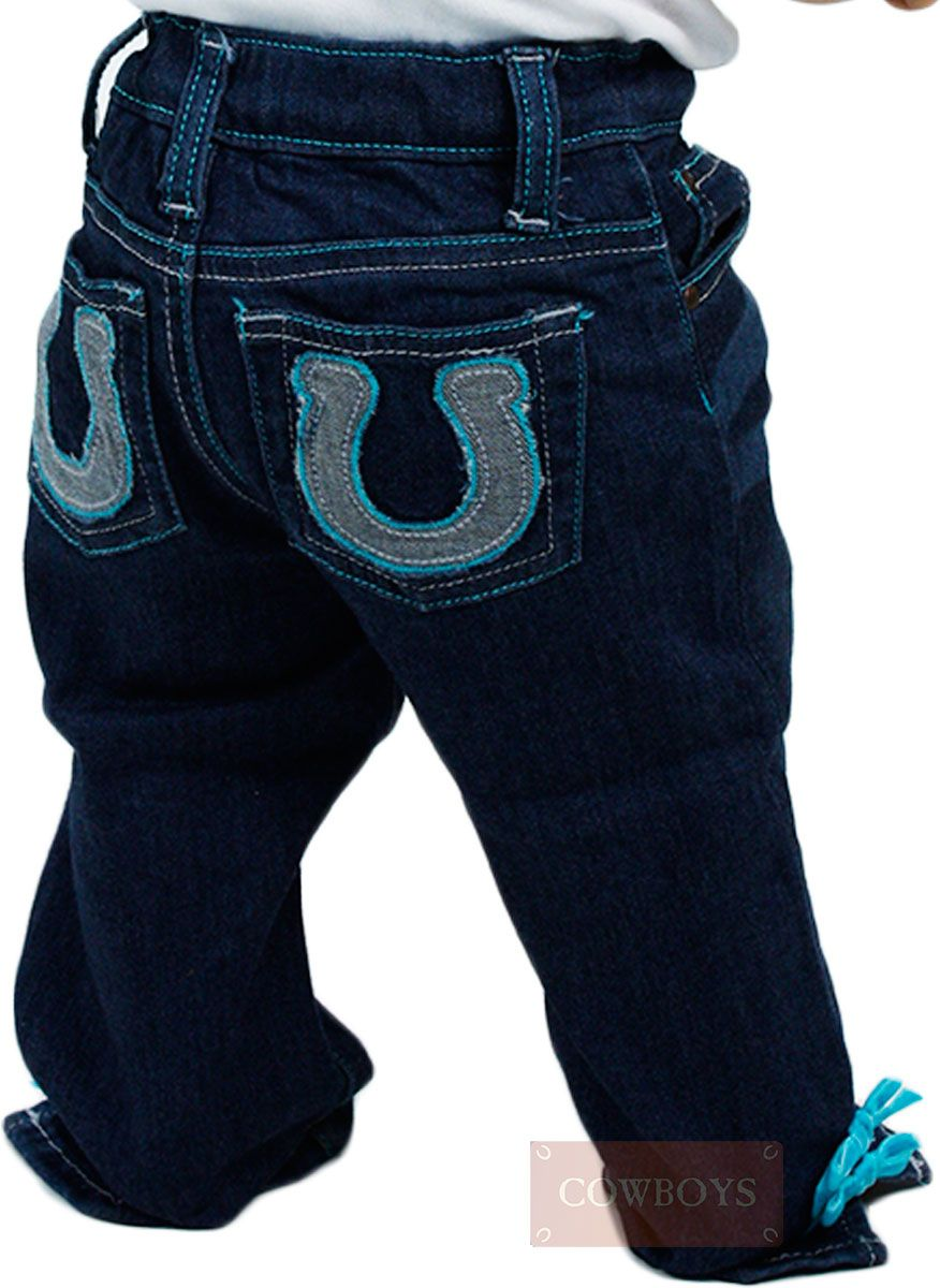 18b094b22 calça jeans Infantil Wrangler Ferradura calça jeans Infantil feminina  Wrangler com costuras na cor verde,