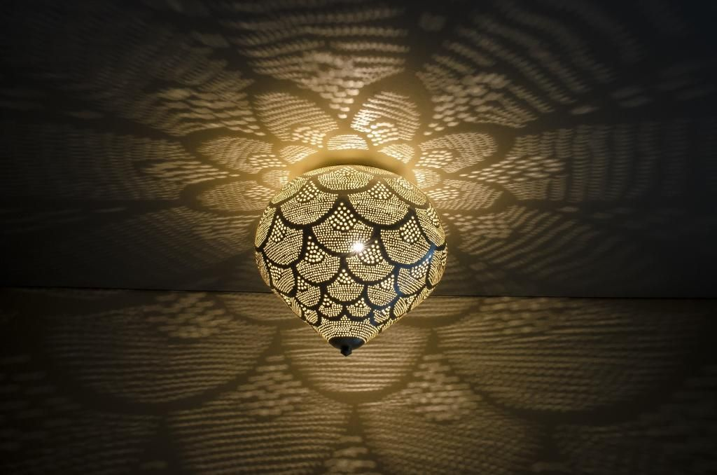 Plafoniere Per Van : Plafondlamp plafoniere oosters filigrain zilver small