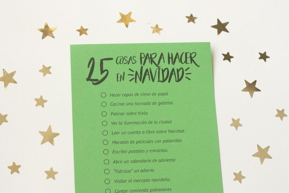 Imprimible   25 cosas para hacer en Navidad Nadal Pinterest - cosas de navidad