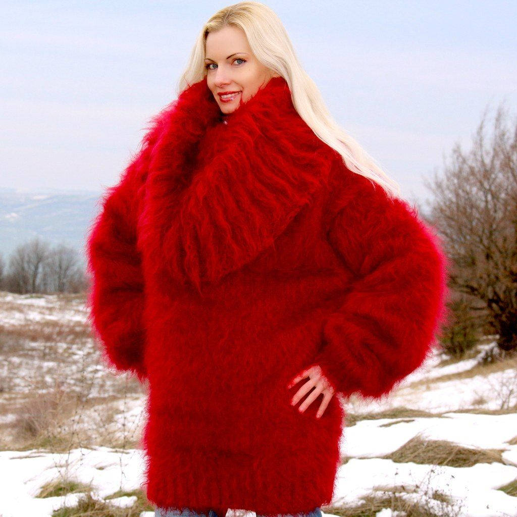 100% hand knitted fuzzy mohair sweater dress in red, size S, M,