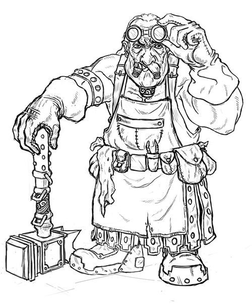 dwarf blacksmith drawing sketch coloring page