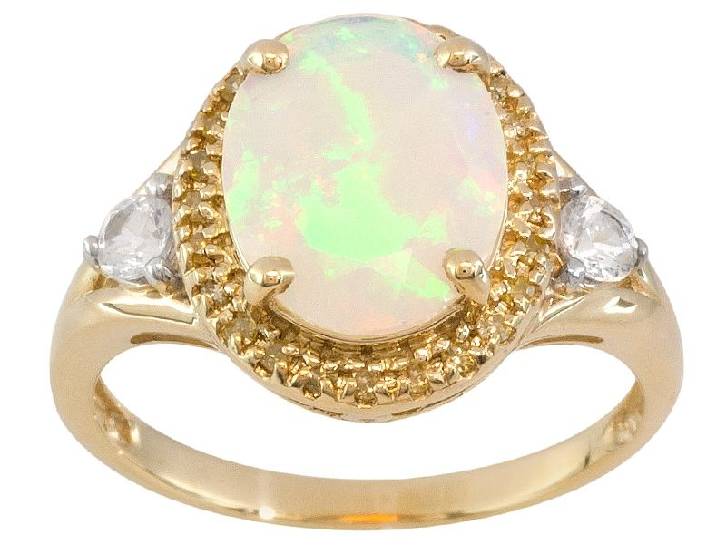 Ethiopian Opal 10k Yellow Gold Ring 1 91ctw Mens Silver Rings Sterling Silver Mens Rings Gold Rings