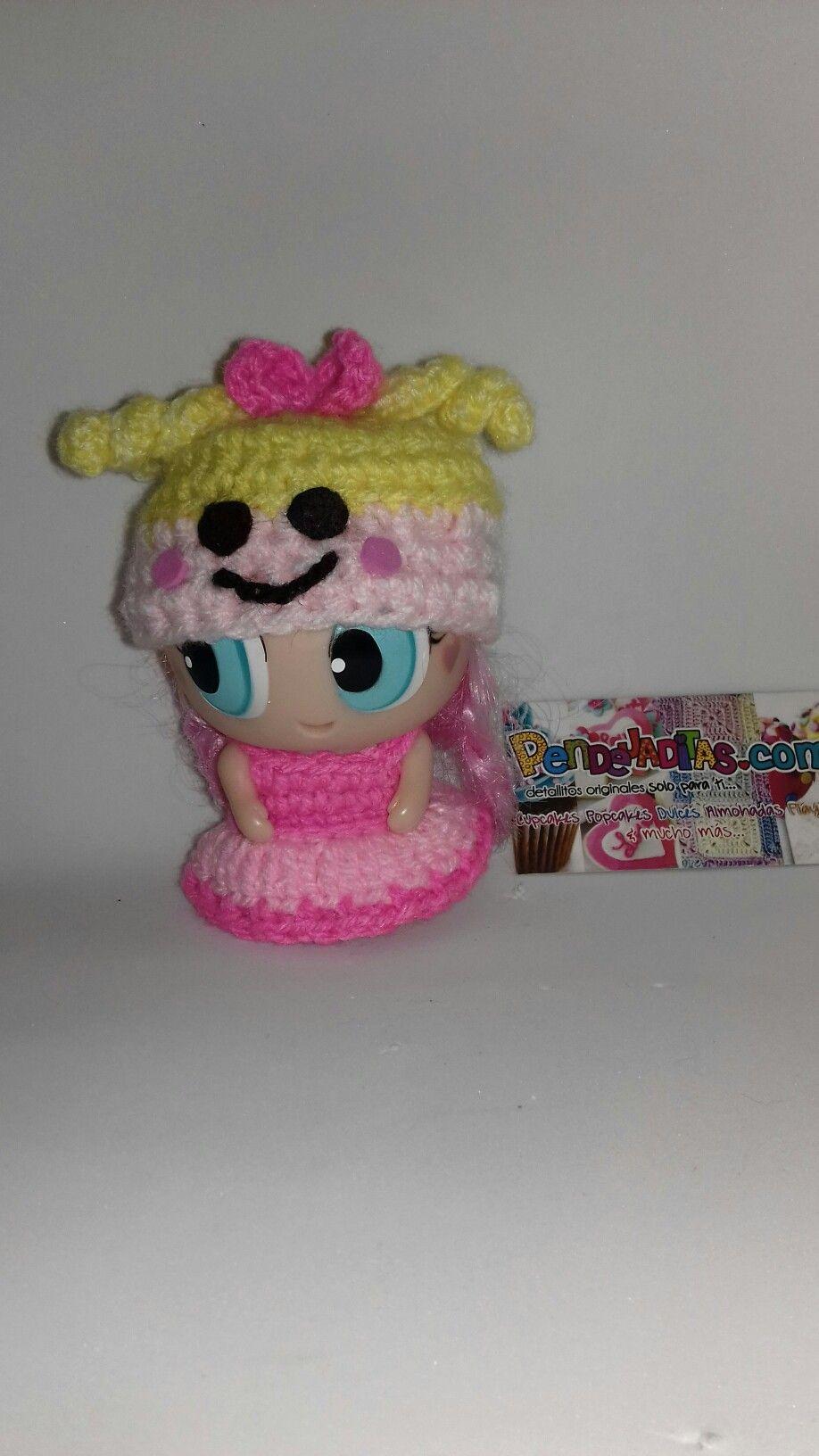 Original Vestido y Gorro en crochet para Ksi meritos