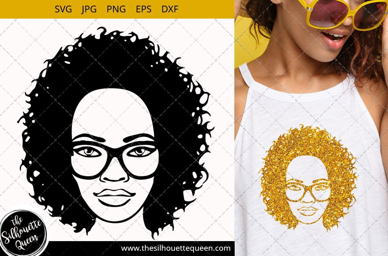 Afro Woman svg with Curly Bob natural hair and glasses African American Black Wafrican