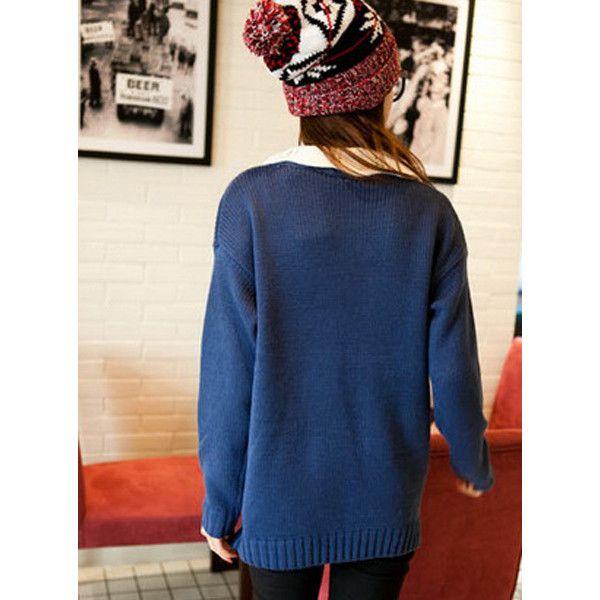 Blue Wave Collar Contrast Lattice Jacquard Sweater ($40) via Polyvore