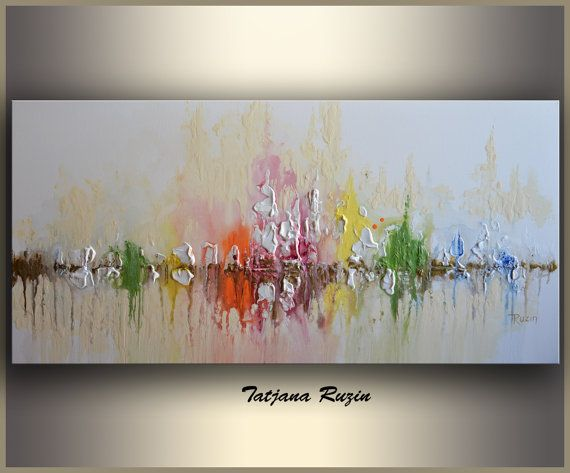 skyline abstract painting by tatjana colorful modern oil painting on canvas texture cityscape. Black Bedroom Furniture Sets. Home Design Ideas