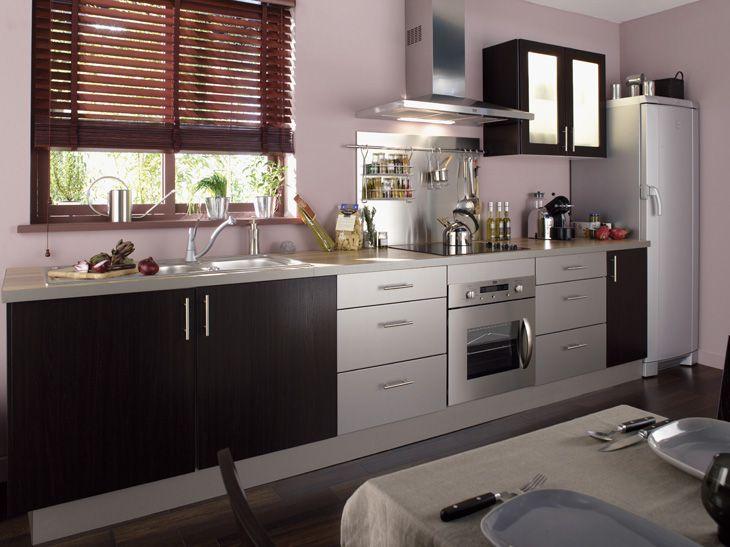 cuisine wengé avec store en bois exotique - de chez leroy merlin