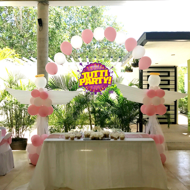 Angel Balloons Arco Arco De Globos Para Bautizo Decoracion Para Bautizo Decoracion Para Primera Comunio Balloon Arch Decorations Balloon Arch Arch Decoration