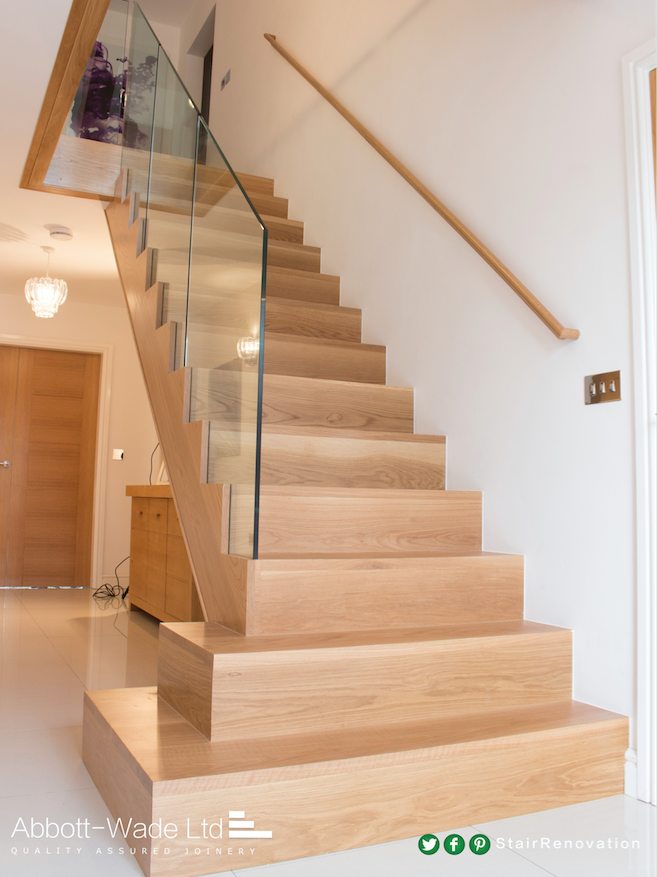 Best Oak Staircase Renovation Incorporating Frameless Glass 400 x 300
