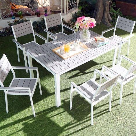 Siderno 6 Salon de jardin en aluminium et polywood pas cher - Soldes ...