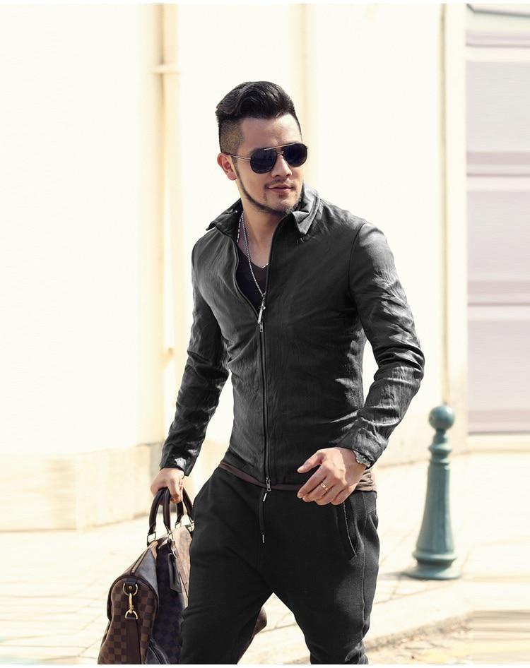 e4a3b642d1f2 Men s Spring Autumn Retro Genuine Leather Zippered Slim Jacket With ...