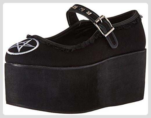 cd01720b3c8 Click-02-2 Mary Jane schoen met plateau en geborduurde pentagram zwart  suede -