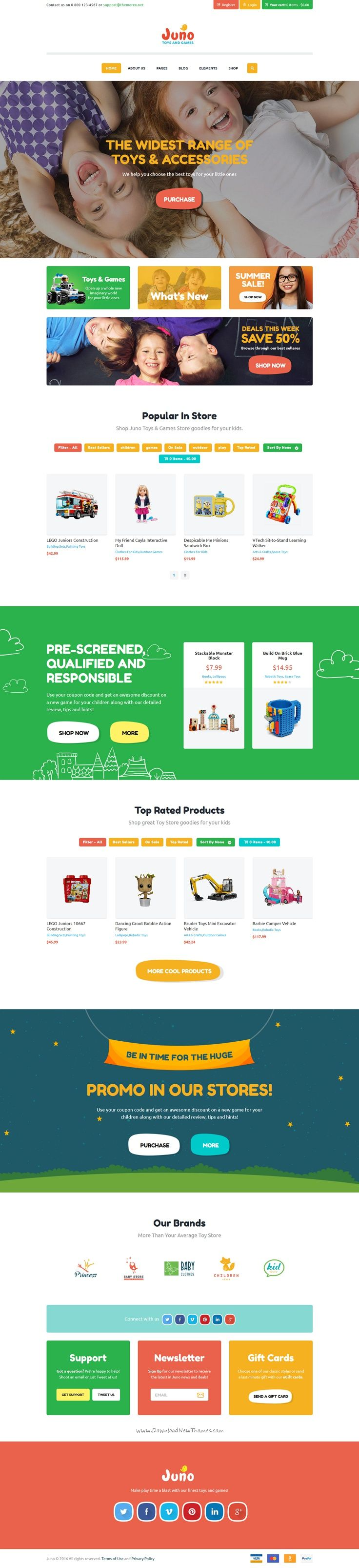 Juno is a cute and colorful premium #WooCommerce @WordPress theme for stunning #kids toys, clothes #eCommerce website download now➯