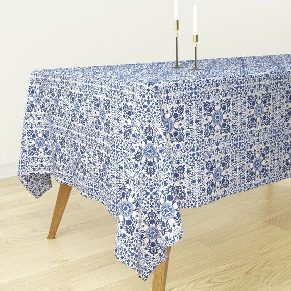 Vintage Style Nursery Blue White Cotton Sateen Tablecloth by Spoonflower Floral Tablecloth Indygo Garden  by indybloomdesign