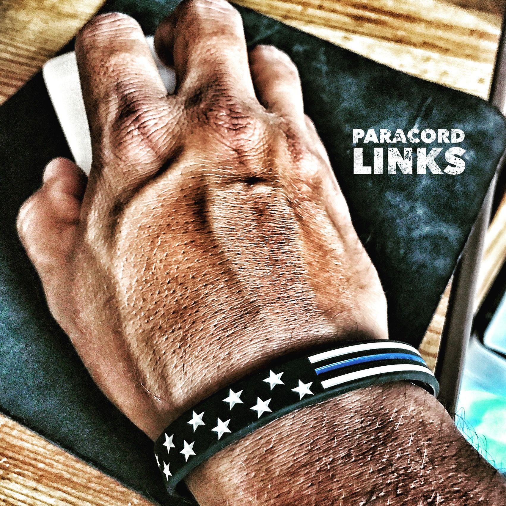 Stars and stripes thin blue line silicone bracelet leo police
