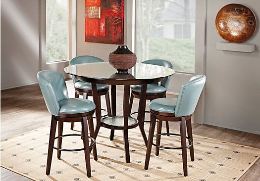 Baymont Blue 5 Pc Counter Height Dining Room W Glass Top Table