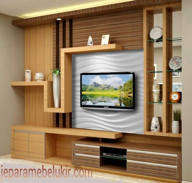 Bufet tv  Mebel jepara in 2019  Tv unit furniture Tv wall decor Rak tv minimalis