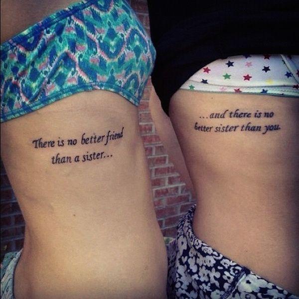 Assez nice Friend Tattoos - modele tatouage phrase famille sur les cotes  TK29
