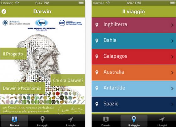 """Resa disponibile gratuitamente, """"con Darwin in un percorso ipertestuale dall'economia alle scienze naturali"""" è un'app ideata a più di 150 anni dalla pubblicazione de """"L'origine delle specie"""", per valorizzare e diffondere le teorie scientifiche di Charles Darwin ed offrire agli interessati uno strumento innovativo per l'apprendimento."""