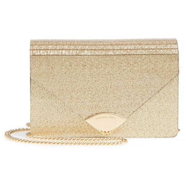 9d3420a7a628 Women s Michael Kors Medium Barbara Metallic Envelope Clutch (325 BAM) ❤  liked on Polyvore featuring bags