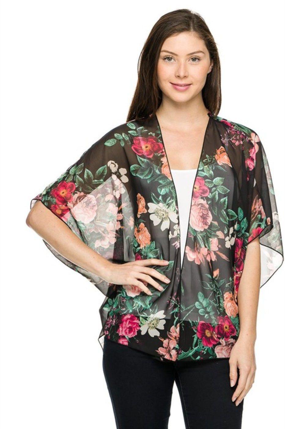 Black & Green 3/4 Sleeve Floral Print Kimono Cardigan | Cute ...