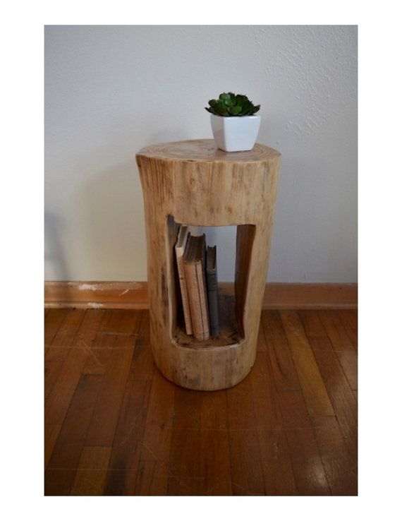 Tree stump side table tree stump end by for Wood stump end table