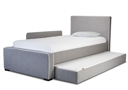 Upholstered Twin Bed High Headboard No Footboard With One Toddler Rail And Trundle Cocuk Odasi Genc Odasi Ve Bebek