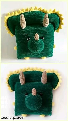 Crochet pattern pillow, amigurumi tutorial dino, amigurumi dinosaur, crochet dino, dinosaur pattern