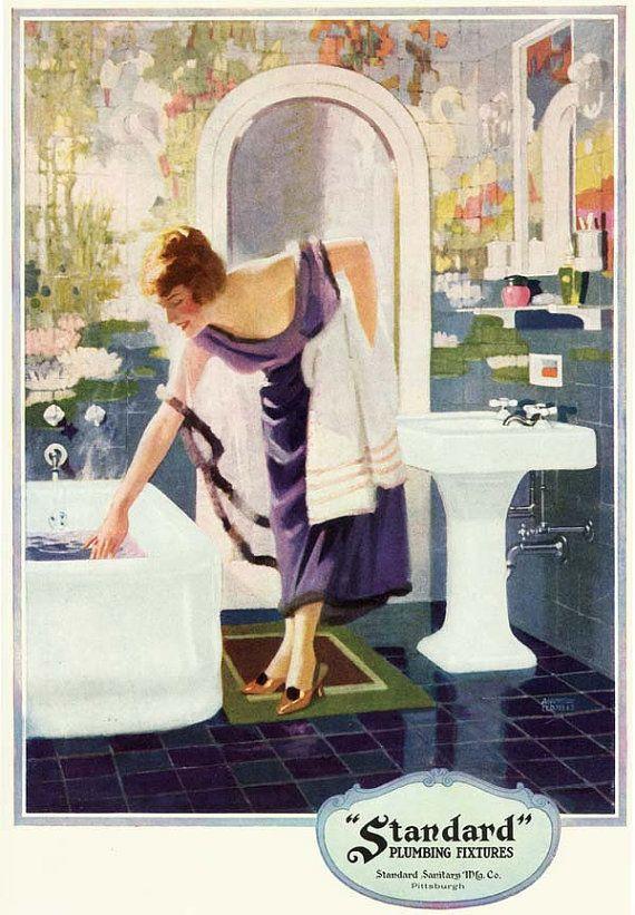Vintage 1920's Art DECO Purple Blue Bathroom Bath Tub Sink ...