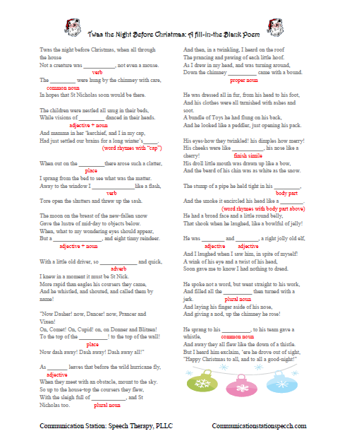 twas the night before christmas fill in the blank poem - Twas The Night Before Christmas Parody
