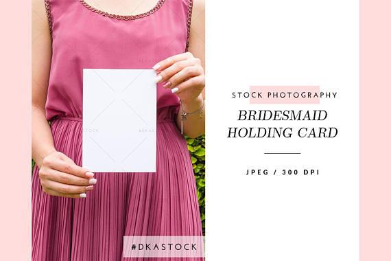 Bridesmaid Holding Invitation Mockup, Wedding Invitation Mockup, Styled  Stock Photography, Card Mockup, JPEG, Rapture Rose, Woman, Bride