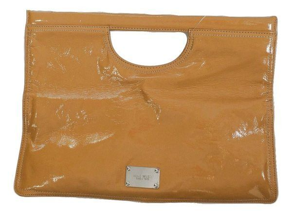 Nine West New Ivy Mustard Faux Patent Leather Fold Over Clutch Handbag