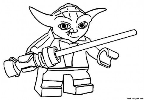 Print Out Lego Star Wars Yoda Coloring Pages Printable Coloring
